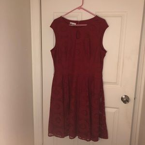 Red Fit and Flare Lace Dress